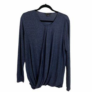 banana republic blue long sleeve cross front blous